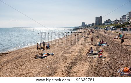 Southend on sea UK - June 18 2017: Beach in summer sunny day.