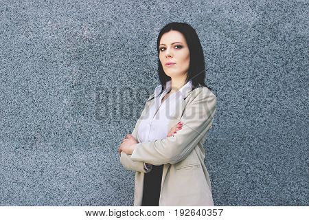 Confident And Beautiful. Portrait Of Attractive And Confident Business Woman In Smart Casual Wear Ke