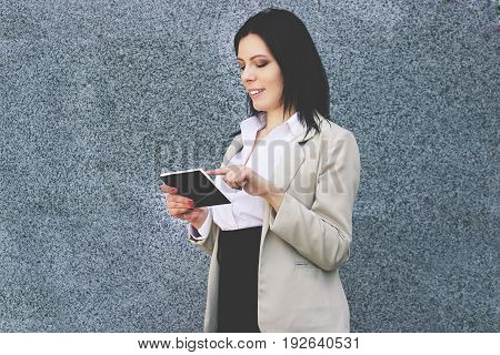 Technologies Make Business Easier. Portrait Of Beautiful And Young Business Woman In Smart Casual We