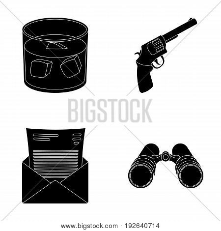 A glass of whiskey, a gun, binoculars, a letter in an envelope.Detective set collection icons in black style vector symbol stock illustration .
