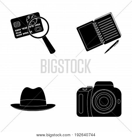 Camera, magnifier, hat, notebook with pen.Detective set collection icons in black style vector symbol stock illustration .
