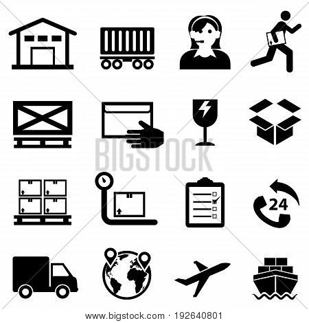 Shipping cargo delivery distribution freight and warehouse web icon set