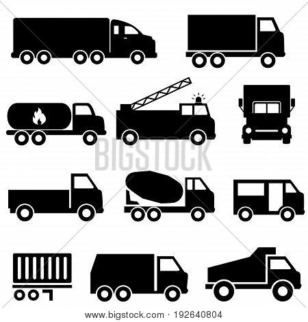 Trucks and transportation web icon set in black