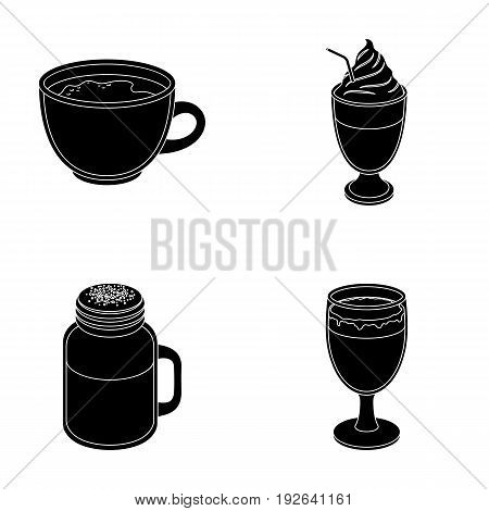 Esprecco, glase, milk shake, bicerin.Different types of coffee set collection icons in black style vector symbol stock illustration .
