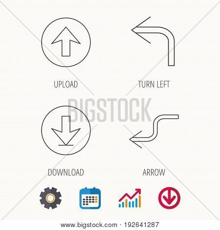 Arrows icons. Download, upload and shuffle linear signs. Turn left, back arrow flat line icons. Calendar, Graph chart and Cogwheel signs. Download colored web icon. Vector
