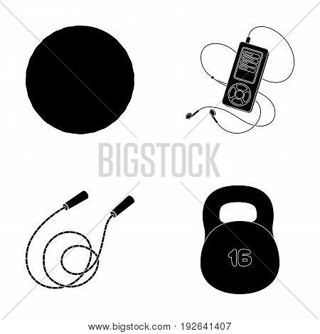Ball, player and other equipment for training.Gym and workout set collection icons in black style vector symbol stock illustration .