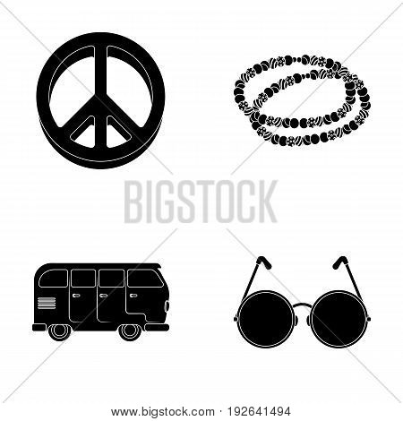 A hippie sign, beads, a bus, round glasses.Hippy set collection icons in black style vector symbol stock illustration.