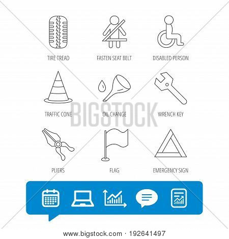 Tire tread, traffic cone and wrench key icons. Emergency triangle, flag and pliers linear signs. Disabled person icons. Report file, Graph chart and Chat speech bubble signs. Vector