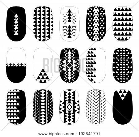 Nail art black-and-white geometric templates. Manicure design set. Can be used for false tips stickers.