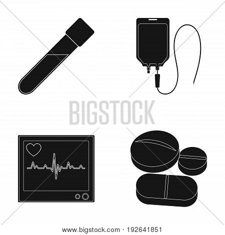Tablets and other equipment.Medicine set collection icons in black style vector symbol stock illustration .