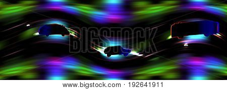 Dark night road with glowing silhouettes of cars and bus creating an illusion of movement. Green, red, blue, purple and black highway with two cars and bus