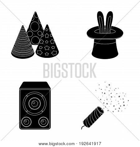 Tricks, music and other accessories at the party.Party and partits set collection icons in black style vector symbol stock illustration .