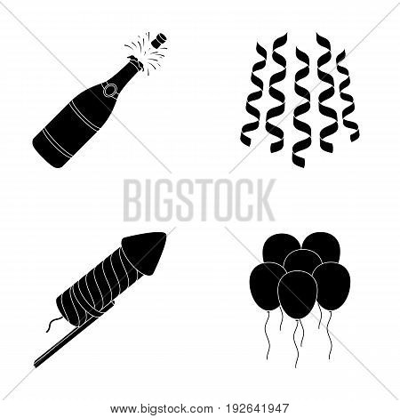 Champagne, fireworks and other accessories at the party.Party and partits set collection icons in black style vector symbol stock illustration .