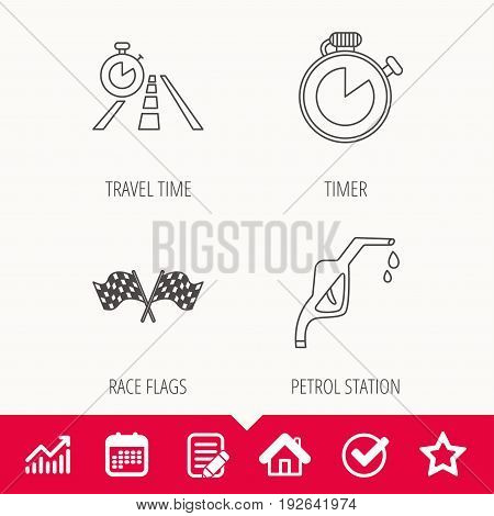 Race flags, travel timer and petrol station icons. Timer linear sign. Edit document, Calendar and Graph chart signs. Star, Check and House web icons. Vector