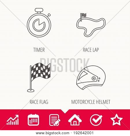 Race flag, timer and motorcycle helmet icons. Race lap linear sign. Edit document, Calendar and Graph chart signs. Star, Check and House web icons. Vector