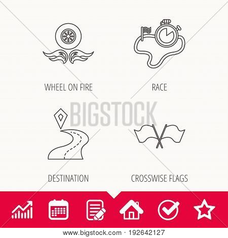 Race flags, timer and destination pointer icons. Wheel on fire linear sign. Edit document, Calendar and Graph chart signs. Star, Check and House web icons. Vector