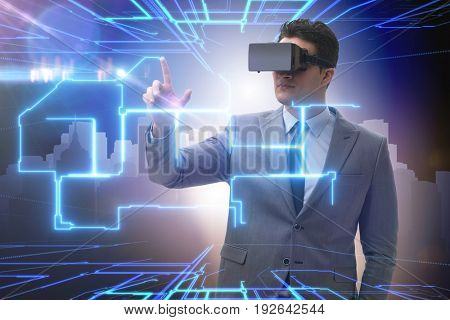 Architect modelling floor plan with vr glasses