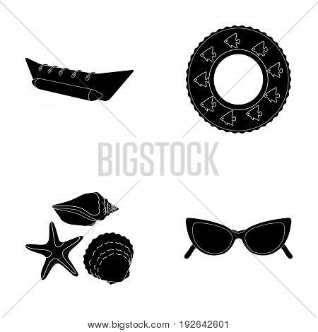 Water attraction, seashells, goggles.Summer vacation set collection icons in black style vector symbol stock illustration .