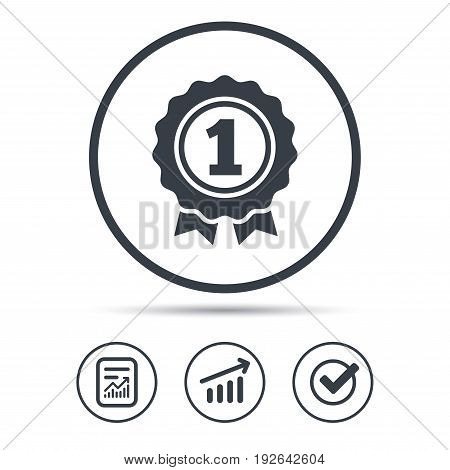 Award medal icon. Winner emblem symbol. Report document, Graph chart and Check signs. Circle web buttons. Vector