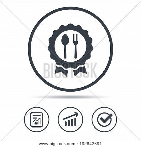 Award medal icon. Food winner emblem symbol. Fork and spoon signs. Report document, Graph chart and Check signs. Circle web buttons. Vector