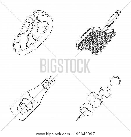 Raw meat steak, grill with handle, bottle of ketchup, shish kebab.BBQ set collection icons in outline style vector symbol stock illustration .