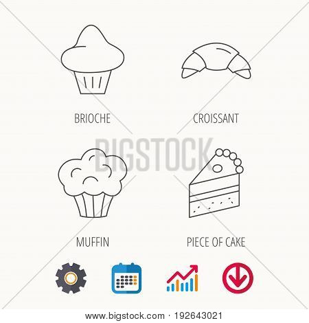 Croissant, brioche and piece of cake icons. Sweet muffin linear sign. Calendar, Graph chart and Cogwheel signs. Download colored web icon. Vector