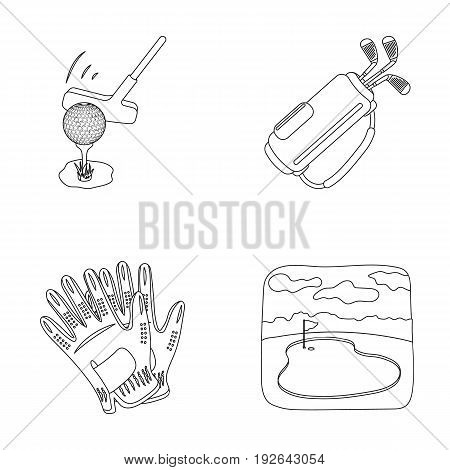 A ball with a golf club, a bag with sticks, gloves, a golf course.Golf club set collection icons in outline style vector symbol stock illustration .