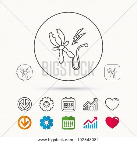 Terminal electrical clips icon. Charging the battery sign. Calendar, Graph chart and Cogwheel signs. Download and Heart love linear web icons. Vector