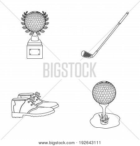 Cup, golf club, ball on the stand, golfer shoes.Golf club set collection icons in outline style vector symbol stock illustration .