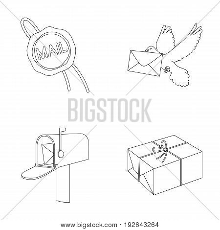 Wax seal, postal pigeon with envelope, mail box and parcel.Mail and postman set collection icons in outline style vector symbol stock illustration .
