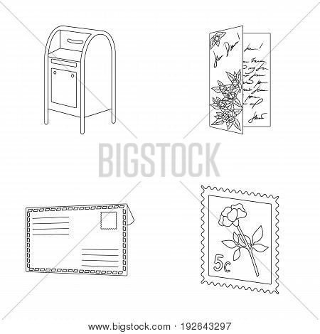 Mailbox, congratulatory card, postage stamp, envelope.Mail and postman set collection icons in outline style vector symbol stock illustration .