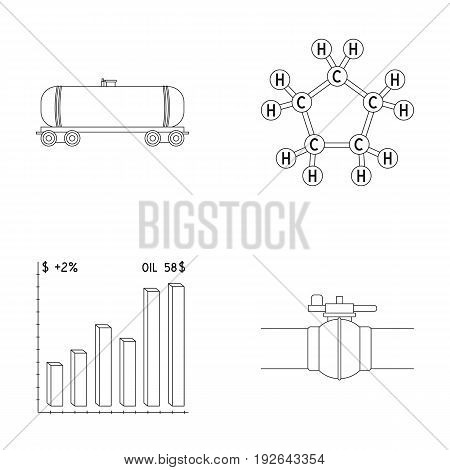 Railway tank, chemical formula, oil price chart, pipeline valve. Oil set collection icons in outline style vector symbol stock illustration .