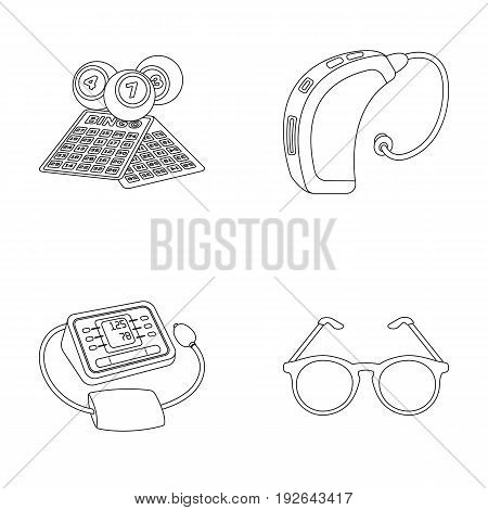 Lottery, hearing aid, tonometer, glasses.Old age set collection icons in outline style vector symbol stock illustration .