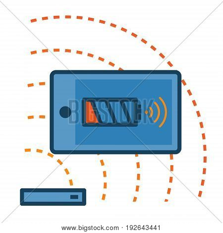 Smartphone charging from a wireless charger abstract icon. Wireless charging phones concept illustration isolated vector. Transparent.