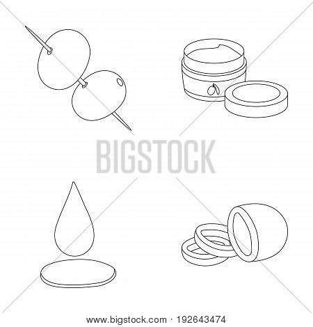 Olives on skewers. A piece of black olives, a jar of cream, a drop of oil.Olives set collection icons in outline style vector symbol stock illustration .