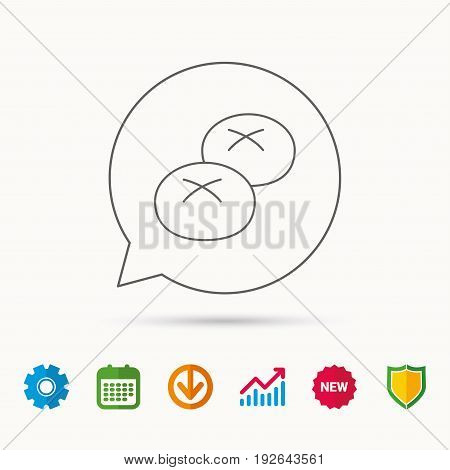 Bread rolls or buns icon. Natural food sign. Bakery symbol. Calendar, Graph chart and Cogwheel signs. Download and Shield web icons. Vector