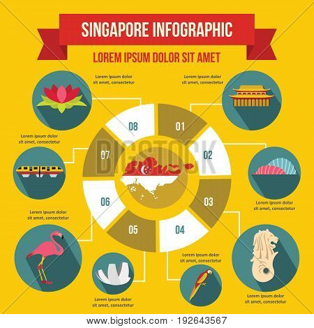 Singapore infographic banner concept. Flat illustration of Singapore infographic vector poster concept for web