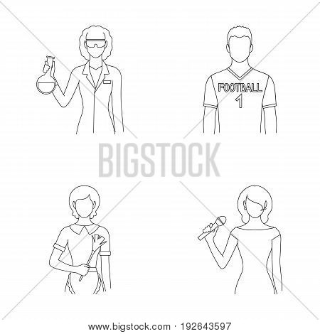 Woman chemist, football player, hotel maid, singer, presenter.Profession set collection icons in outline style vector symbol stock illustration .