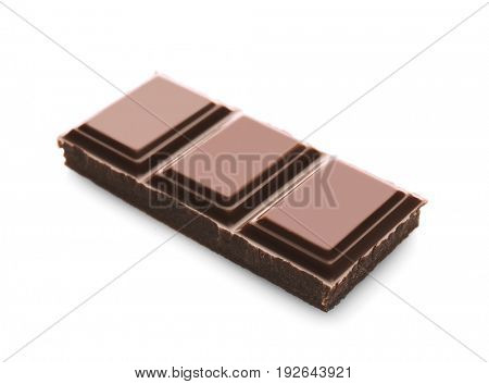 Broken chocolate piece, isolated on white