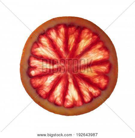 Slice of delicious juicy blood orange on white background