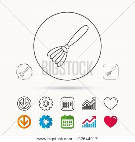 Brush icon. Paintbrush tool sign. Artist instrument symbol. Calendar, Graph chart and Cogwheel signs. Download and Heart love linear web icons. Vector