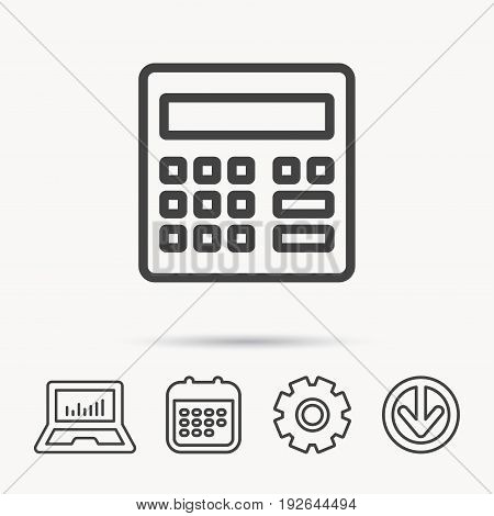 Calculator icon. Accounting sign. Balance calculation symbol. Notebook, Calendar and Cogwheel signs. Download arrow web icon. Vector