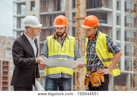 Male work building construction engineering occupation blueprint discussion