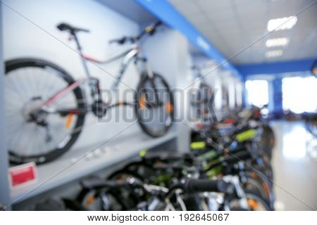 Blurred view of bicycle shop