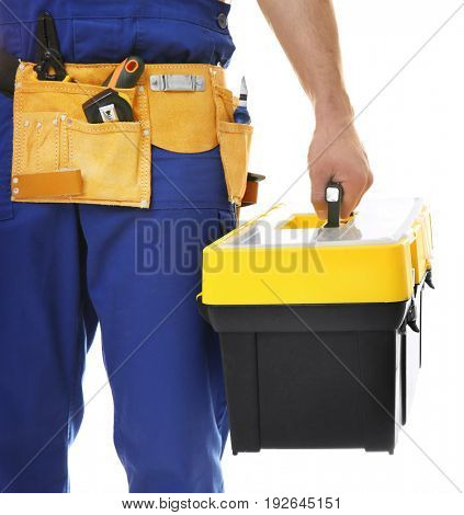 Electrician with toolbox on white background, closeup