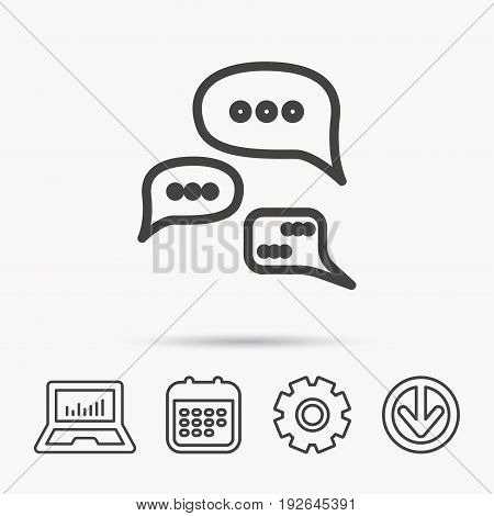 Conversation icon. Chat speech bubbles sign. Communication clouds symbol. Notebook, Calendar and Cogwheel signs. Download arrow web icon. Vector