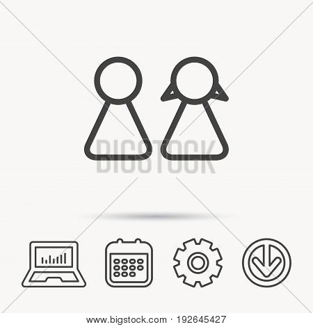 Young couple icon. Male and female sign. Notebook, Calendar and Cogwheel signs. Download arrow web icon. Vector