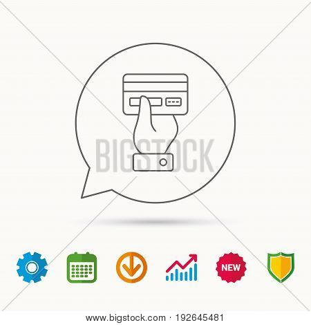 Credit card icon. Giving hand sign. Cashless paying or buying symbol. Calendar, Graph chart and Cogwheel signs. Download and Shield web icons. Vector