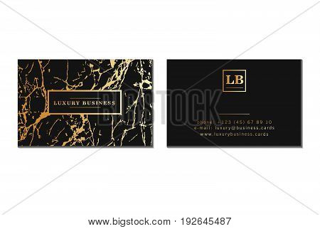 Luxury business cards, banner and cover with marble texture and golden foil details on black background. Branding and identity graphic design vector template.