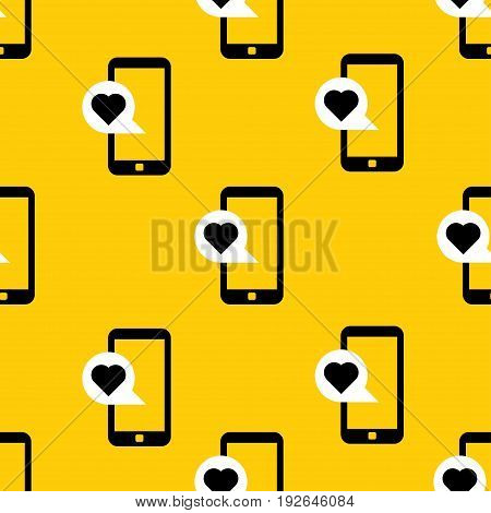 cellphone with love message pattern. vector illustration